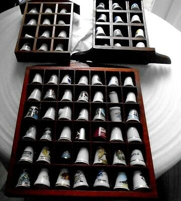 Job lot of 66 Thimbles with wall holders, mostly china