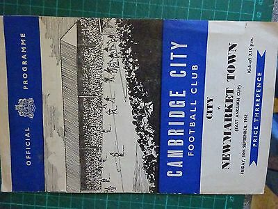 1962 FOOTBALL Cambridge City FC v Newmarket Town Original Programme