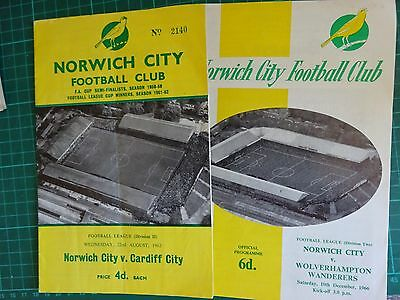 1962 & 1966 FOOTBALL Norwich City V Cardiff + Wolves Original Programmes