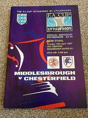 Middlesbrough v Chesterfield 1997 FA Cup Semi Final Football Programme