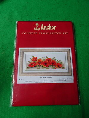 Counted Cross Stitch Kit - Anchor - Spray Of Poppies