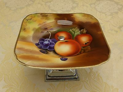 Art Deco Cake Stand With Signed Hand Painted Fruit Patterned Plate  #1270716/722