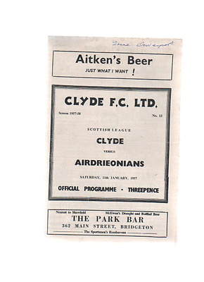 1956-57 Clyde v Airdrieonians 11th January 1957 Scottish League