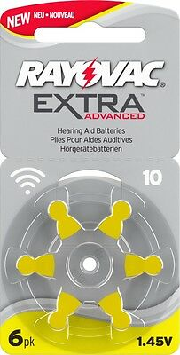 Rayovac Extra Advanced Hearing Aid Batteries Size 10 (Yellow) 60 Cells Brand New