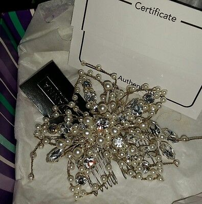 Wedding Hair Comb Pearls With Jewels Silver Bnwb Arianna Cert Of Authenticity