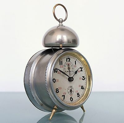 KIENZLE Alarm Clock Antique LARGE BELL!!! Mantel 1920s Germany Full Metal! Glass