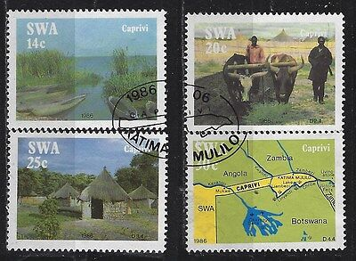 SOUTH WEST AFRICA 1986 Sc#574-7 CAPRIVI STRIP USED COMPLETE SET 1220