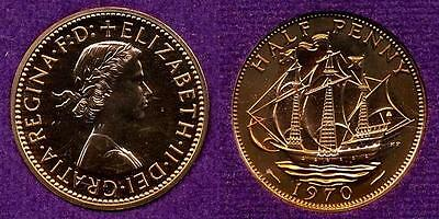 United Kingdom, England, Great Britain: 1970 Proof Half Penny, Km896, Free Ship
