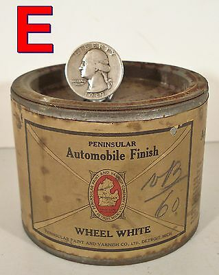 Antique 1/2 pint Car Paint Can, PENINSULAR AUTOMOBILE FINISH White unopened  *E*