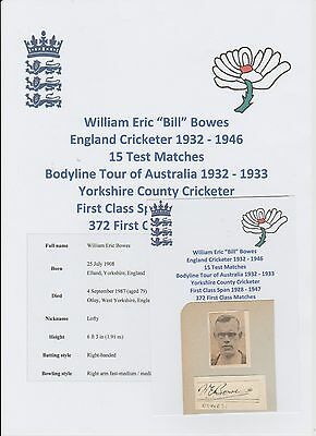 Bill Bowes England Cricketer Ashes Bodyline Tour 1932-33 Rare Hand Signed