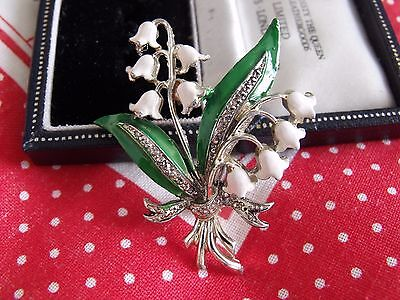 Vintage Jewellery Signed Exquisite Enamel Lily Of The Valley Flower  Brooch Pin
