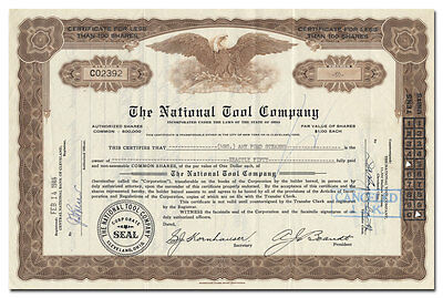 National Tool Company Stock Certificate (Cleveland, Ohio)