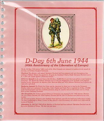 MILITARY COLLECTION D-DAY 40th ANNIV DEDICATED ALBUM with 16 BENHAM 1984 FDC'S