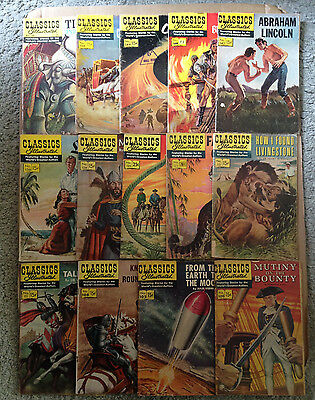 CLASSICS ILLUSTRATED (USA) LOT OF 14 ISSUES FROM 100-166 (MOSTLY 15c) 50s / 60s