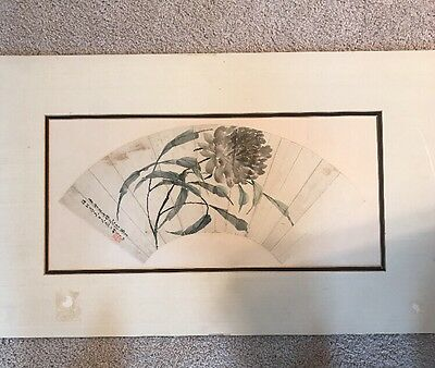 Antique Chinese Watercolor Fan Painting.