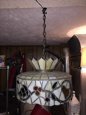 VINTAGE ARTS & CRAFTS TIFFANY Style Stained Glass Leaded CHANDELIER LIGHT
