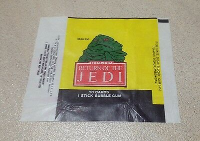 "1983 Scanlens ""Return of the Jedi"" Wax Pack Wrapper (Jabba the Hutt)"