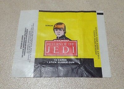 "1983 Scanlens ""Return of the Jedi"" Wax Pack Wrapper (Luke Skywalker)"
