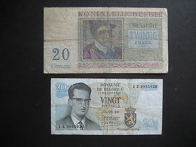BELGIUM MIXED ISSUES - 20 FRANCS x TWO BANKNOTES - CIRCULATED