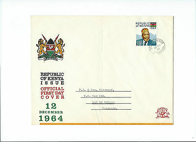 REPUBLIC OF KENYA 12 DECEMBER 1964 OFFICIAL FIRST DAY COVER ( 30c STAMP )
