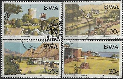 SOUTH WEST AFRICA 1987 Sc#586-9 RESORTS USED COMPLETE SET 1653