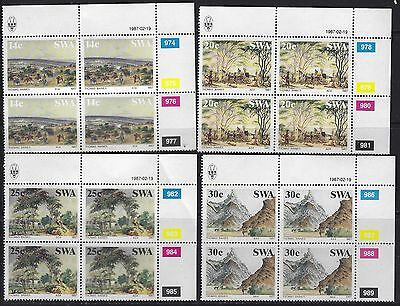 SOUTH WEST AFRICA 1987 Sc#578-81 THOMAS BAINES PAINTINGS MNH CONTROL BLOCKS 1265
