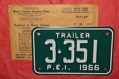UNUSED NOS 1966 PRINCE EDWARD ISLAND, PEI Motorcycle Sized Trailer License Plate