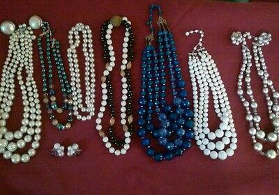 Vintage estate lot of multi strand beaded necklaces and some cluster earrings