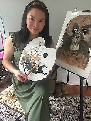 mongolian art painting of a sheepo dog painted by pure nomad .