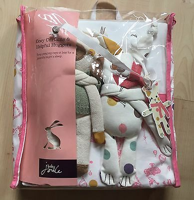 Baby Joule Joules Cosy Curtains & Helpful Huggers lined girls nursery Party BNWT