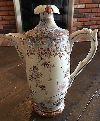 Antique Meiji Japanese Tashiro Zo Signed Chocolate Pot Teapot Flower Handle