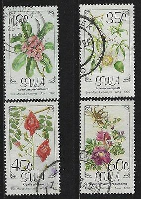 SOUTH WEST AFRICA 1990 Sc#641-4 FLORA COMPLETE USED SET 2306