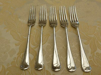 Five Vintage Silver Plated Old English Cutlery Dinner Forks   #1270894/898