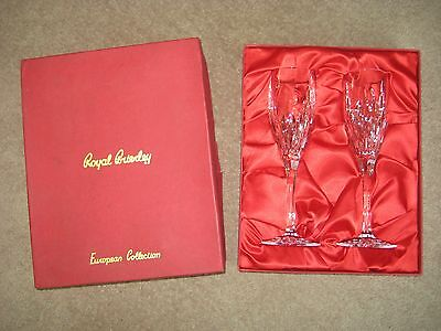 Royal Brierley European Collection Champagne Flutes / Glasses - Boxed