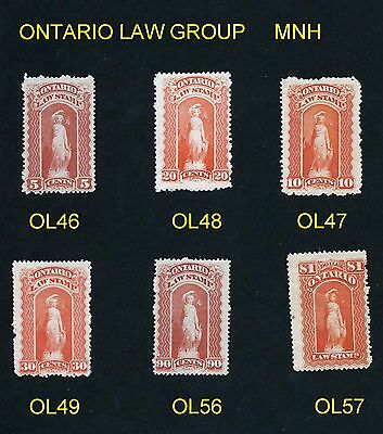 Stamps - Canada - Revenue - Group Of 6 Mint Ontario Law Stamps