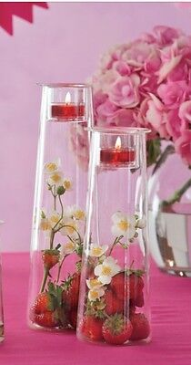 PartyLite DIY CLEARLY CREATIVE SYMMETRY TALL VOTIVE TEALIGHT CANDLE HOLDER SET 2
