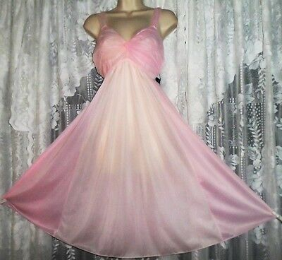 Vtg Vanity Fair Pink Thin Nylon Chiffon Bodice Nightgown Negligee Gown 36 38