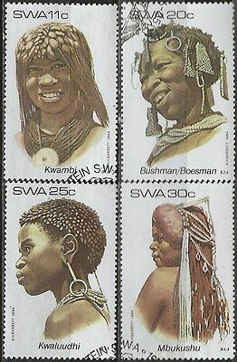 SOUTH WEST AFRICA 1984 Sc#524-7 HEADDRESSES COMPLETE USED SET 2507
