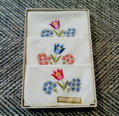 Vintage ladies  1950s embroidered hankies handkerchiefs  floral tulips Ireland