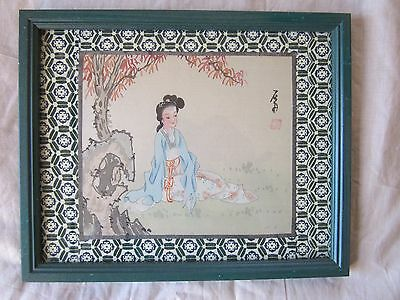 Old Antique Vintage Hand Painted Chinese Painting on Silk Framed