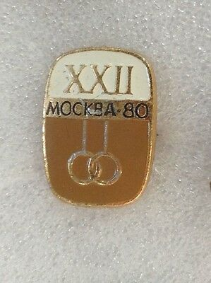 Olympics Moscow 1980 Official Pin Badge For Mens Rings In Very Good Condition