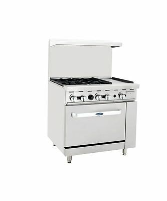 "New Heavy 36"" Range 4 Burners 12"" Griddle 1 Full Oven Stove  Lp Propane Gas"