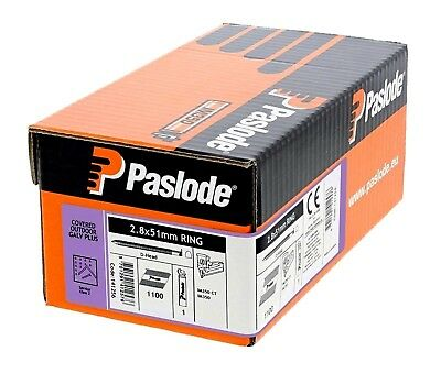 Paslode 1100 Galvanised 2.8 x 51mm Round Ring Framing Nails & Gas Fuel Cell Pack