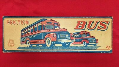 Marsan Friction Tin toy Bonnet Bus RARE vintage Made in JAPAN 1960 w/box F/S