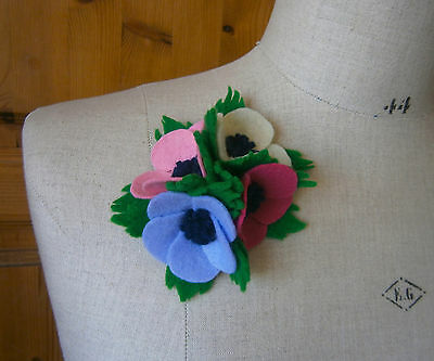 VINTAGE 1940s FELT ANENOME CORSAGE BROOCH WW2 GOODWOOD WEDDING SUMMER COLOURS