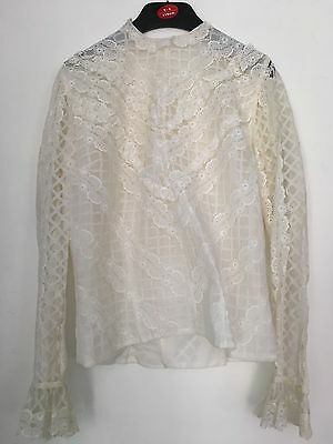 Vintage High Neck Blouse White Lace 60s Dermore Of Mayfair 36