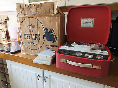 Defiant Reel To Reel Tape Recorder With Original Box Plus Tapes