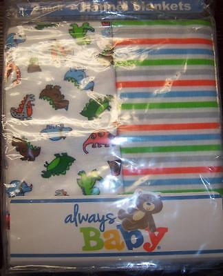 New Boy's 2 Pack Always Baby A Trademark of Gerber Flannel Receiving Blankets