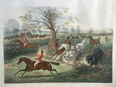 Vintage engraving, Renewal of Acquaintance with hounds / The Start . Lot of 2.