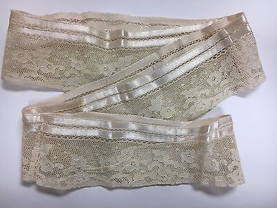 A3 Vintage French Lingerie Lace Trim Edging Ribbon Salvage Costume Remnant